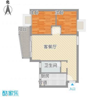 尚境雅筑69.00㎡A4栋06单元户型2室2厅