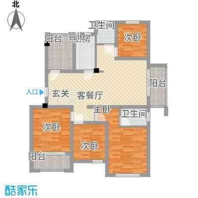 水岸观邸129.00㎡水岸观邸户型图Dd2户型4室2厅2卫1厨户型4室2厅2卫1厨