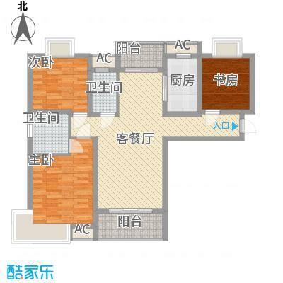 中邦城市花园121.00㎡中邦城市花园户型图二期高层B1户型3室2厅2卫1厨户型3室2厅2卫1厨