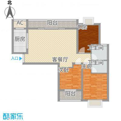 中邦城市花园130.00㎡中邦城市花园户型图C4户型3室2厅2卫户型3室2厅2卫
