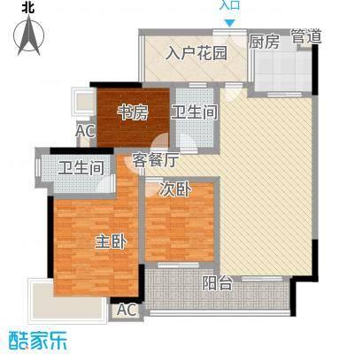 中海锦榕湾130.00㎡中海锦榕湾户型图J3栋02单元3室2厅2卫1厨户型3室2厅2卫1厨