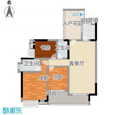中海锦榕湾129.00㎡中海锦榕湾户型图J2栋02单元3室2厅2卫1厨户型3室2厅2卫1厨