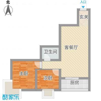 中城心岛国际公寓65.00㎡中城心岛国际公寓户型图2室2厅1卫户型2室2厅1卫