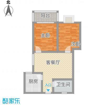 晟方佳苑77.04㎡M户型2室2厅1卫1厨