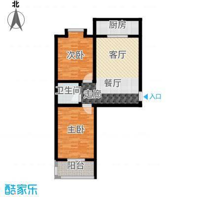 灞柳康馨花园77.96㎡户型B户型2室1厅1卫1厨