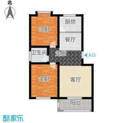 灞柳康馨花园89.16㎡户型D户型2室2厅1卫1厨