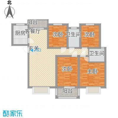 紫薇大厦130.00㎡紫薇大厦户型图4室2厅2卫户型4室2厅2卫