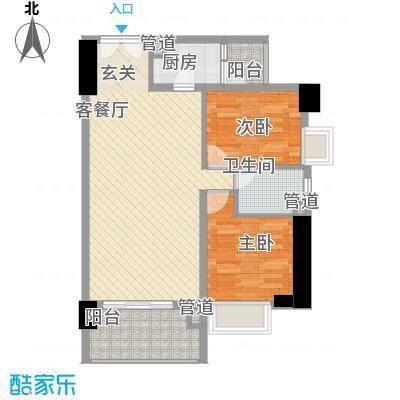 亿海湾88.38㎡亿海湾户型图1东27-32h2室2厅1卫1厨户型2室2厅1卫1厨