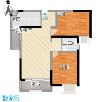 融绿理想湾89.00㎡E户型2室2厅1卫1厨