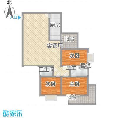 朱雀MEN151.95㎡B户型3室2厅2卫1厨