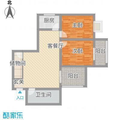 朱雀MEN90.58㎡E户型2室2厅1卫1厨