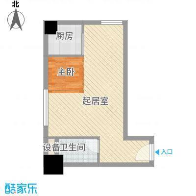 领先时代广场50.00㎡户型1室1厅1卫1厨