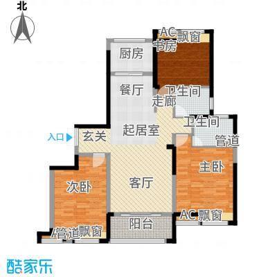 水畔兰庭148.00㎡水畔兰庭户型图G户型-148㎡3室2厅2卫1厨户型3室2厅2卫1厨