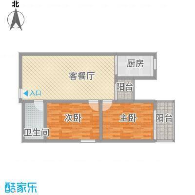 文景雅苑92.08㎡1号楼E户型2室2厅1卫1厨
