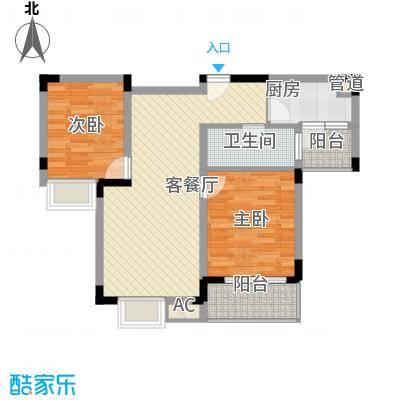金润华庭86.90㎡金润华庭户型图J22室2厅1卫户型2室2厅1卫