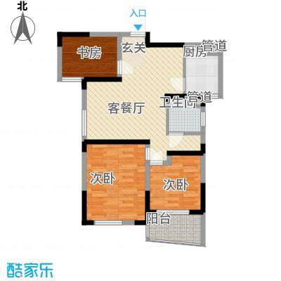 利港尚公馆户型图1#6―19层(02、07单元) 3室2厅1卫1厨