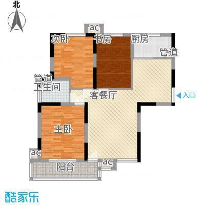 利港尚公馆户型图1#楼6-19层(01、08单元) 3室2厅1卫1厨