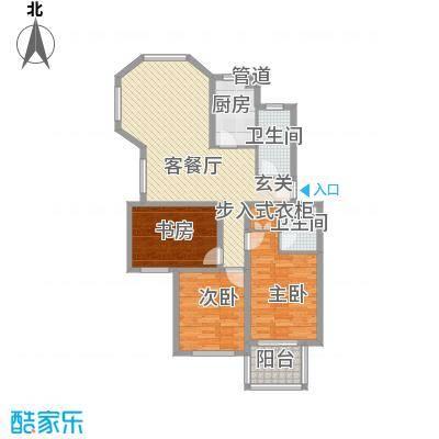 东城风景户型图H户型 3室2厅2卫1厨