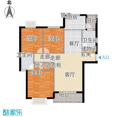 颐园世家户型图1#汉城座 A标准层 3室2厅2卫1厨