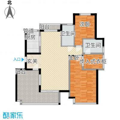 利港尚公馆户型图2 2室2厅1卫1厨
