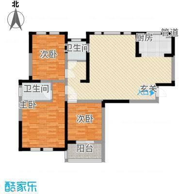 盛世新城125.14㎡二期8号楼C9-J户型3室2厅2卫