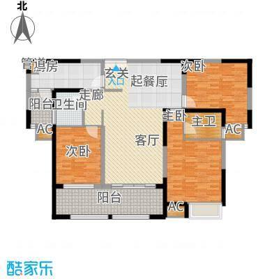 金科新大陆125.00㎡金科新大陆户型图8-9单元GO4户型3室2厅2卫户型3室2厅2卫
