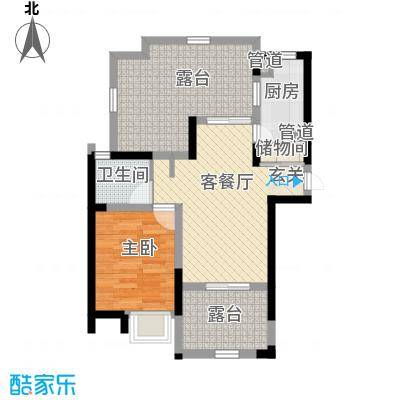 蓝庭国际78.36㎡蓝庭国际户型图1号楼1-L、N、P1室2厅1卫户型1室2厅1卫