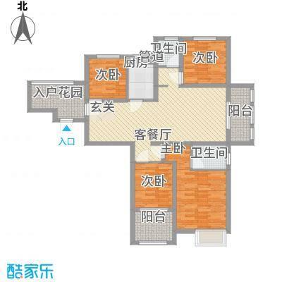 水岸观邸130.04㎡水岸观邸户型图Gd2反4室3厅2卫1厨户型4室3厅2卫1厨