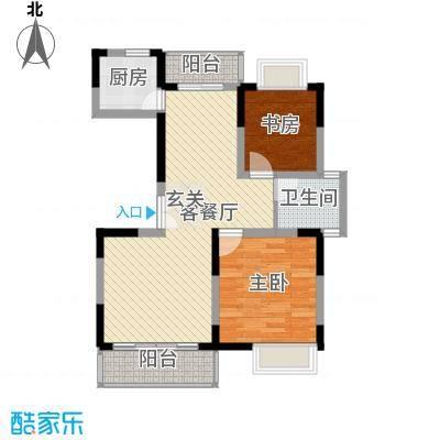 锦翠嘉苑88.66㎡小高层标准层2房户型2室2厅1卫