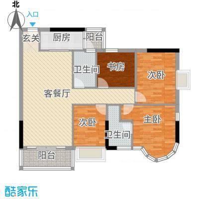 云翠豪苑119.00㎡B户型4室5厅2卫1厨