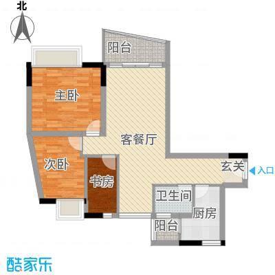云翠豪苑90.00㎡F户型3室2厅1卫1厨