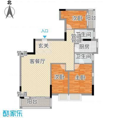 云翠豪苑140.14㎡倚云轩A1栋16层户型3室2厅2卫1厨