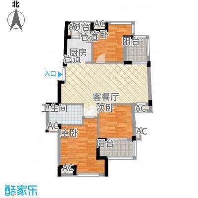 东鼎世纪107.40㎡东鼎世纪户型图户型偶数层D1b3室2厅1卫1厨户型3室2厅1卫1厨