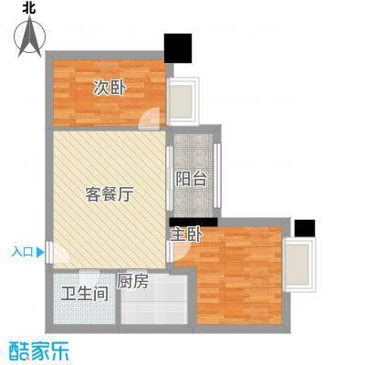 翔韵雅荟63.21㎡2室2厅户型2室2厅1卫1厨