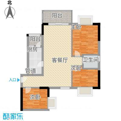 翔韵雅荟93.22㎡3房2厅户型3室2厅1卫1厨