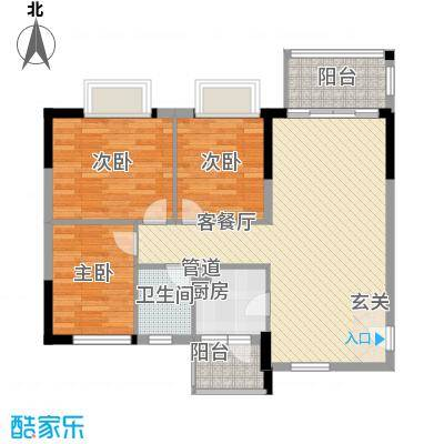 翔韵雅荟99.32㎡3室2厅户型3室2厅1卫1厨