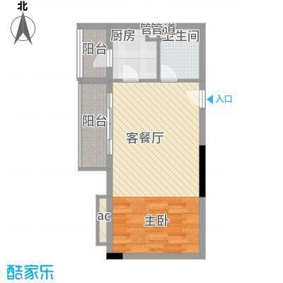 翔韵雅荟47.68㎡1室1厅户型1室1厅1卫1厨