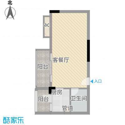 翔韵雅荟47.68㎡B栋13-18层03单元户型1室1厅1卫1厨