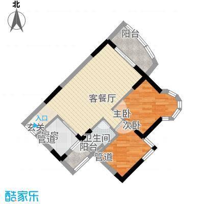 海富花园四期62.14㎡6号楼标准层4单位户型2室2厅1卫1厨