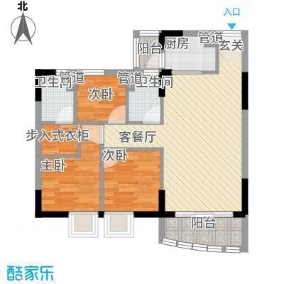 海富花园四期78.72㎡6号楼标准层1单位户型3室2厅2卫1厨