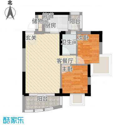 海富花园四期56.69㎡5号楼标准层4单位户型2室2厅1卫1厨