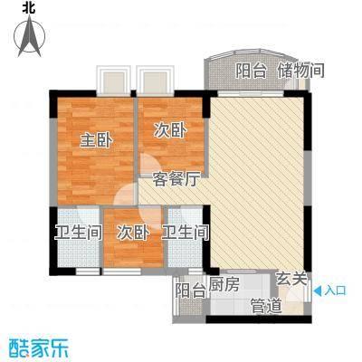 海富花园四期81.59㎡5号楼标准层2单位户型3室2厅2卫1厨
