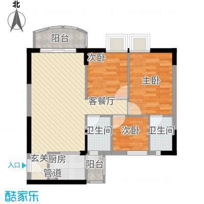 海富花园四期83.37㎡5号楼标准层3单位户型3室2厅2卫1厨