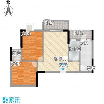 时代新世界中心2室1厅户型2室1厅1卫1厨