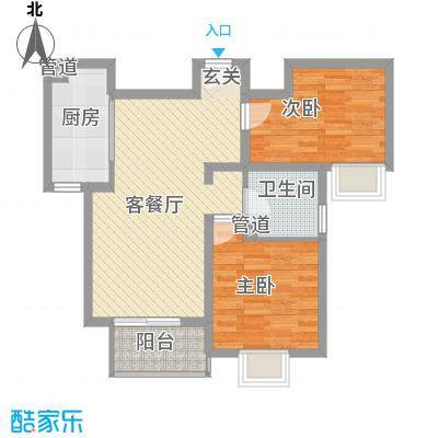华荣楼2房2厅户型2室2厅1卫1厨