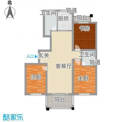 东城风景户型图A户型 3室2厅2卫1厨