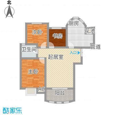 奥林匹克花园102.00㎡高层户型3室2厅1卫