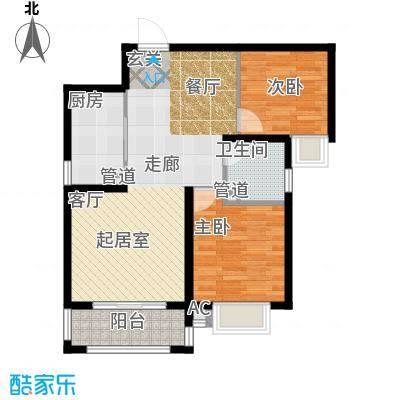 曲江圣卡纳89.50㎡B1户型2室2厅1卫1厨