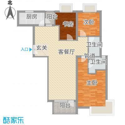 融科玖玖城户型图高层3#楼G1户型 3室2厅2卫