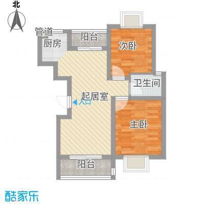 康桥丽景花园70.00㎡2室户型2室2厅1卫1厨